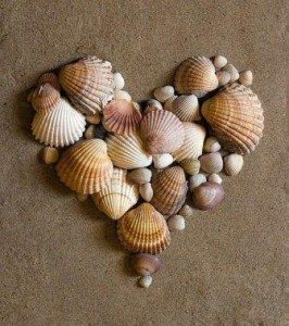 seashells on the beach forming the shape of a heart to depict that love heals pain